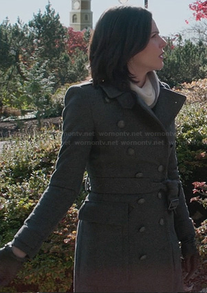 Regina's grey wool trench coat on OUAT