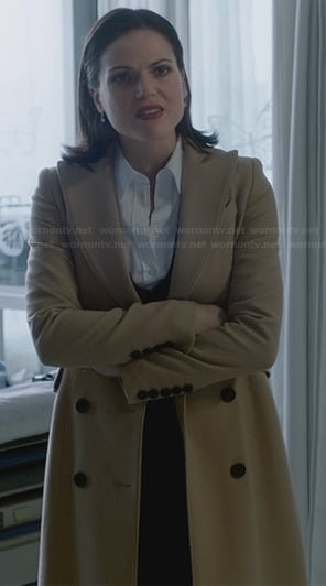 Regina's long cream coat on Once Upon a Time