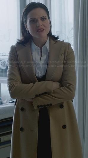 Regina's long camel colored coat on OUAT