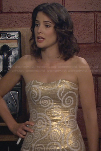 Robin's gold strapless swirl patterned dress on How I Met Your Mother