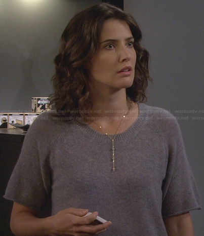 Robin's grey short sleeve sweater on HIMYM