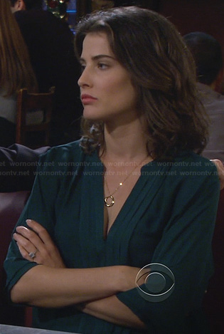 Robin's teal green pleated blouse on How I Met Your Mother