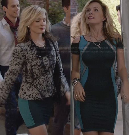 Samantha's blue and teal green cold shoulder bodycon dress and black and white zip detail jacket on The Carrie Diaries