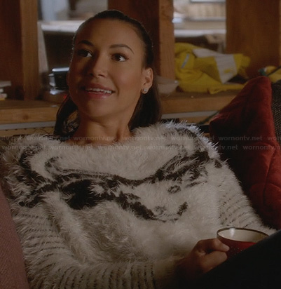 Santana's fluffy reindeer sweater on Glee