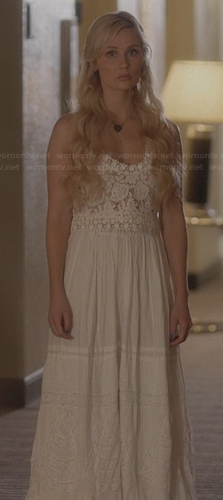 Scarlett's white lace maxi dress on Nashville