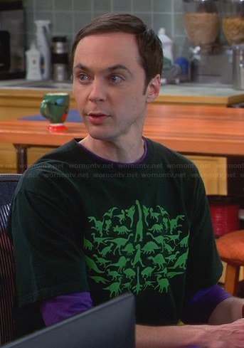 Sheldon's green dinosaur tee on The Big Bang Theory