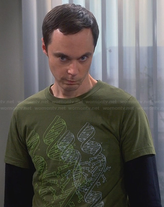 Sheldon's green DNA graphic shirt on The Big Bang Theory