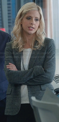 Sydney's grey jersey blazer on The Crazy Ones