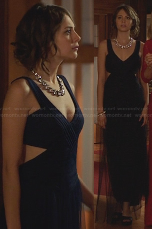 Thea's black mesh cut out gown on Arrow