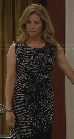 Vanessa's black and white reptile print dress on Last Man Standing