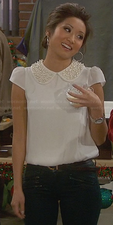 Veronica's white pearl embellished collar top on Dads