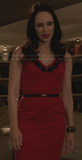 Victoria's red dress with black lace applique on Revenge