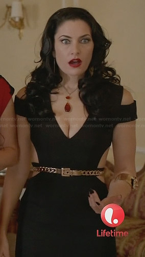Wendy's black gown with cutout detail at Freya's wedding on Witches of East End