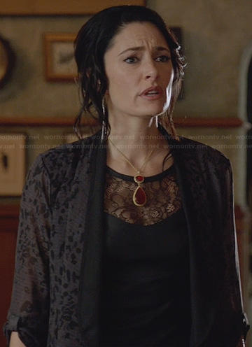 Wendy's black leather top with lace inset on Witches of East End