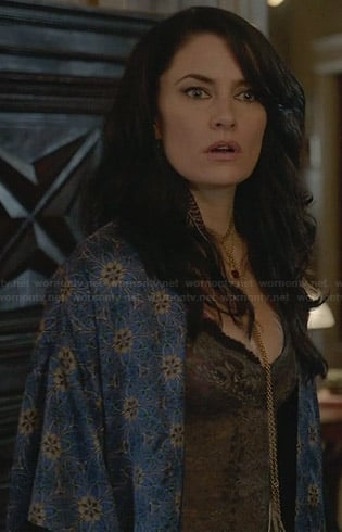 Wendy's blue bath robe on Witches of East End
