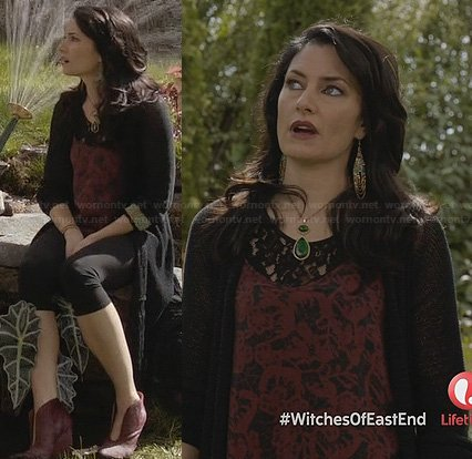 Wendy's red floral and lace top and red ankle boots on Witches of East End