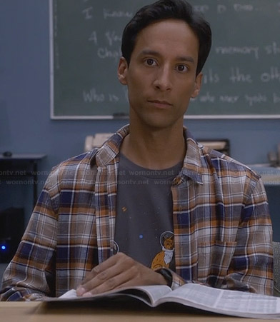 Abed's astronaut animals tee and plaid shirt on Community