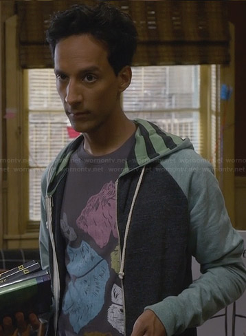 Abed's green striped hoodie on Community