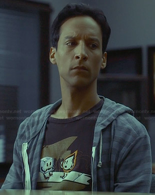 Abed's ice cube and flame t-shirt on Community