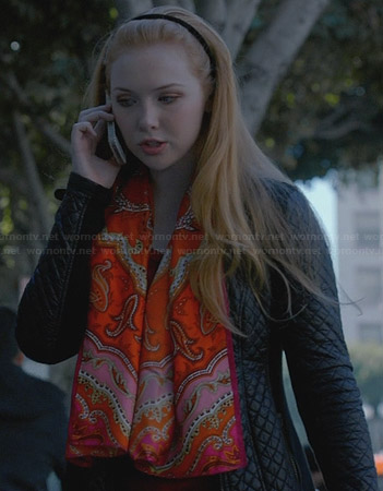 Alexis's black quilted coat and orange paisley scarf on Castle