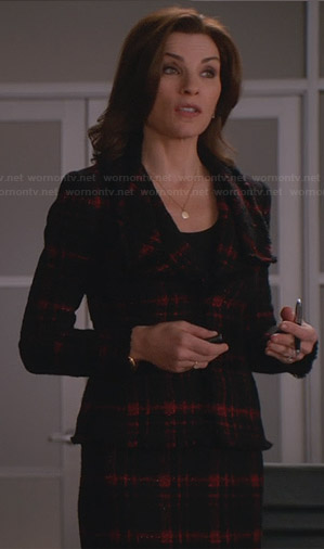 Alicia's black and red checked tweed jacket on The Good Wife