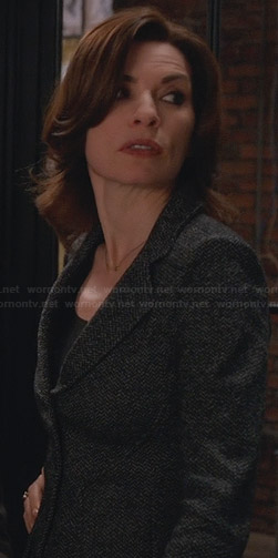 Alicia's grey herringbone blazer on The Good Wife