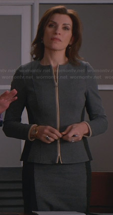 Alicia's grey two-tone zip front jacket and matching skirt on The Good Wife