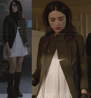 Allison's green military style jacket and white dress on Teen Wolf