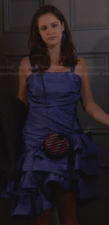 Amy's blue ruffled 80s style dress on Brooklyn Nine-Nine