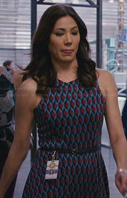 Angela's blue and red patterned dress on Bones