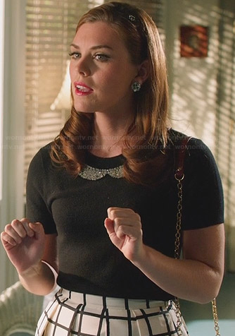 AnnaBeth's black beaded collar top and grid print skirt on Hart of Dixie