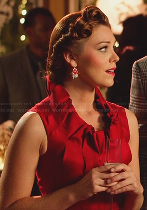 AnnaBeth's red pleated neckline dress on Hart of Dixie