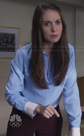 Annie's blue blouse with white collar on Community
