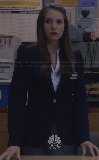 Annie's navy blue blazer with gold button detail on Community