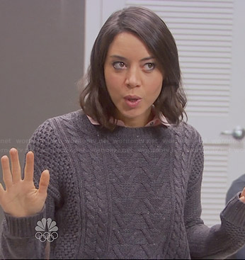 April's grey cable knit sweater on Parks and Recreation