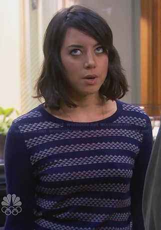 April's navy blue geometric patterned striped sweater on Parks and Recreation