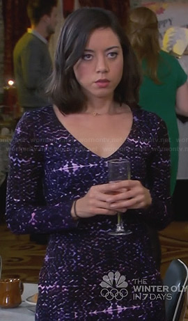 April's purple printed long sleeve dress on Parks and Recreation