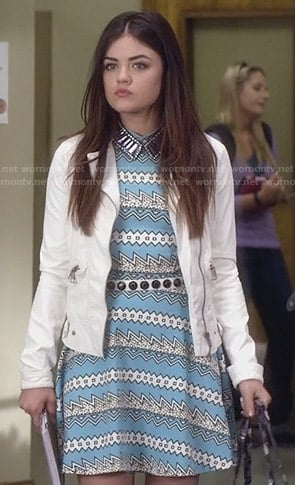 Aria's turquoise blue zig zag print dress on Pretty Little Liars
