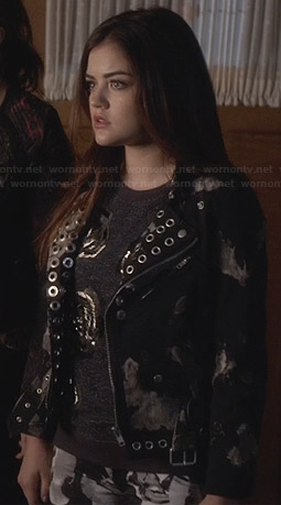 Aria's grey beaded rose top and eyelet detail jacket on Pretty Little Liars