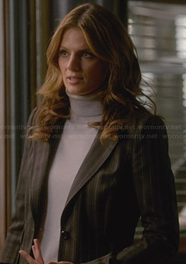 Beckett's brown striped blazer on Castle