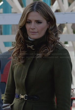 Beckett's olive green wool buckle coat on Castle