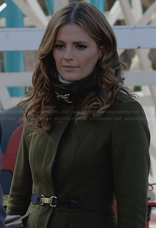 Beckett's green wool buckled coat on Castle