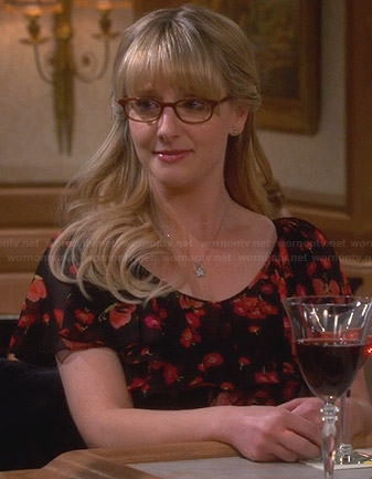Bernadette's black and red floral dress on The Big Bang Theory