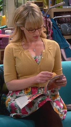 Bernadette's pink and yellow floral dress on The Big Bang Theory