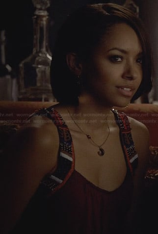 Bonnie's purple tank top with embroidered straps on The Vampire Diaries