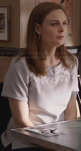 Brennan's grey blouse with white leaves on Bones
