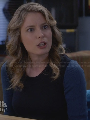 Britta's blue baseball sweater on Community