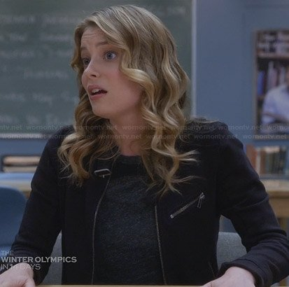 Britta's black buckle neck jacket on Community