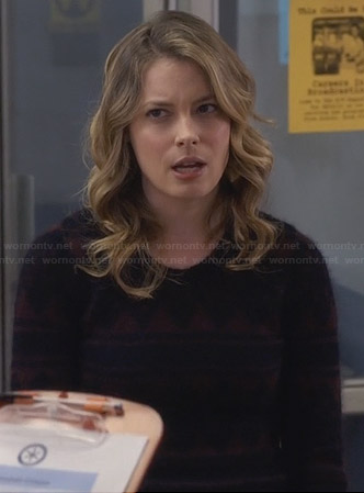 Britta's brown and navy patterned sweater on Community