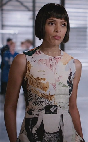 Camille's abstract print dress on Bones